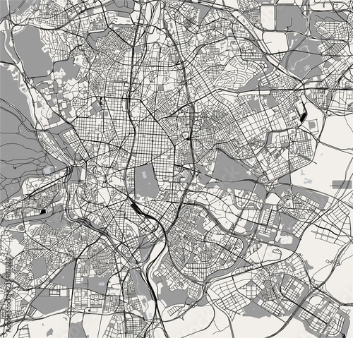 Photo vector map of the city of Madrid, Spain