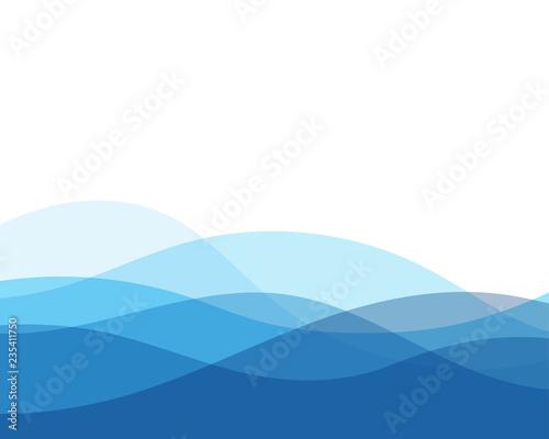 Obraz na plátně Blue water wave ocean concept abstract vector background