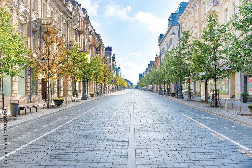 City street with empty road