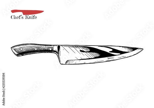 Fototapeta illustration of chef's knife