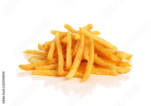 Photo pile of french fries on a white background