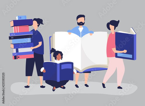 Group of people reading and borrowing books
