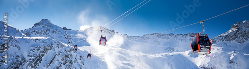 Canvas Print Stunning winter panorama in Tonale ski resort