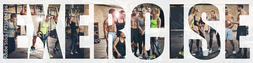 Fotografie, Obraz Collage of smiling young people exercising at the gym