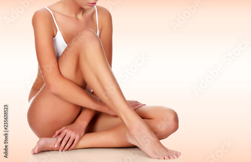 Canvas Young woman with slim body and smooth clean skin