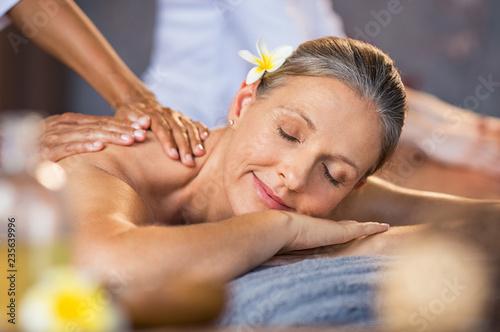 Stampa su Tela Woman receiving massage at spa