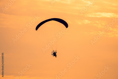 motorized parachute on sea