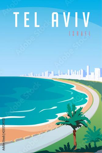 Fotografia, Obraz Vector art deco retro poster. Tel Aviv, Israel.