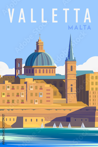 Fotografia, Obraz Vector art deco retro poster. Valletta Malta.