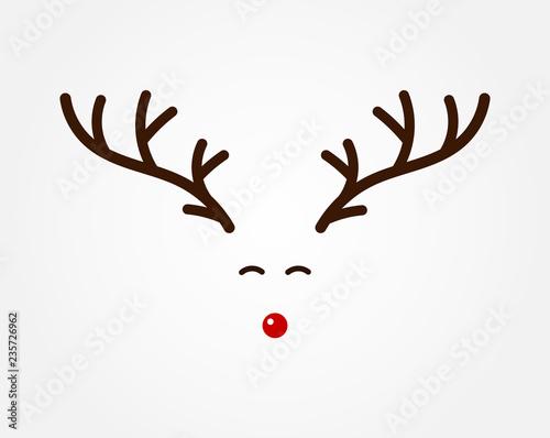 Fotografia Christmas reindeer symbol, antlers and red nose.