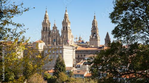 Photographie Santiago de Compostela view and amazing Cathedral of Santiago de Compostela with