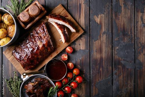 Fototapeta Home made pork and beef ribs