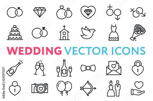 Wedding, Marriage, Engagement, Bridal Flat Line Vector Icon Set Fototapeta