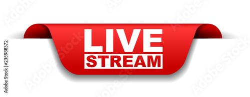 Stampa su Tela red vector banner live stream
