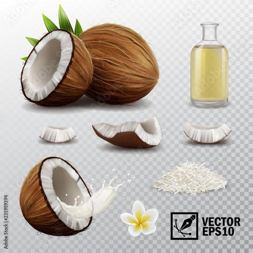Foto 3d realistic vector set of elements (whole coconut, half coconut, coconut chips,
