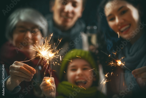 Family having fun on New Year.