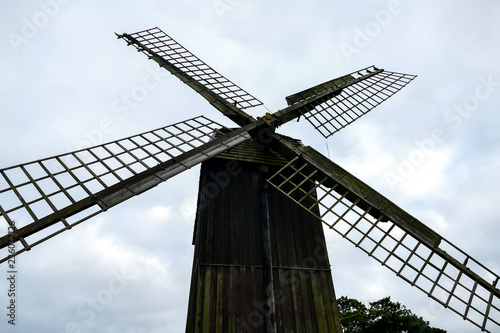 old windmill on background of blue sky, in Sweden Scandinavia North Europe