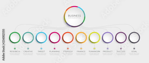 Fotografija Abstract 3D Infographic Template with 10 steps for success