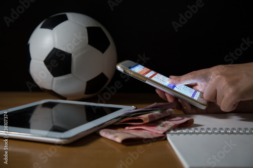Photo Gambling Football Game Bet Concept