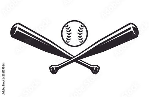 Canvas Print Monochrome two crossed baseball bats, icon sports tool
