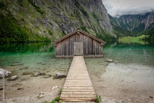 Boatshack at lake Obersee Fototapete