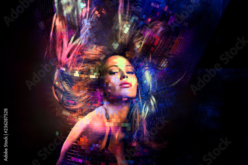 colorful dance party girl with hair in motion