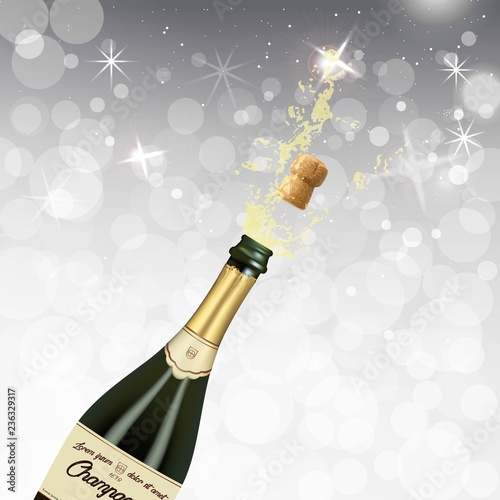 Fotografia, Obraz Vector illustration of opened bottle of champagne or sparkling wine with a cork and splash in photorealistic style