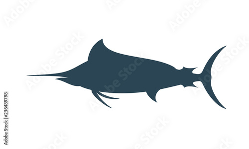 Canvas Print Marlin silhouette. Isolated marlin on white background