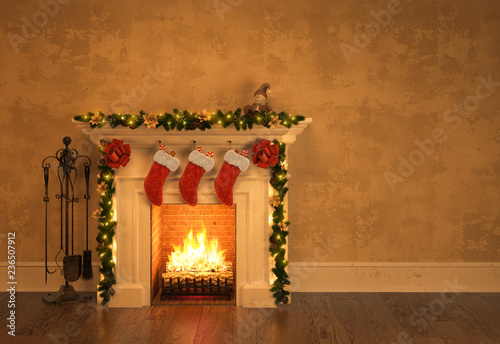 Stampa su Tela Fireplace with christmas decoration 3D rendering