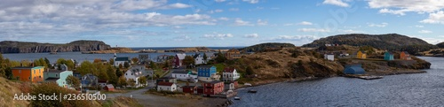 Photo Aerial panoramic view of a small town on the Atlantic Ocean Coast during a sunny day