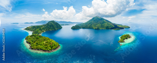 Fotografia, Obraz Aerial view Banda Islands Moluccas archipelago Indonesia, Pulau Gunung Api, lava flows, coral reef white sand beach