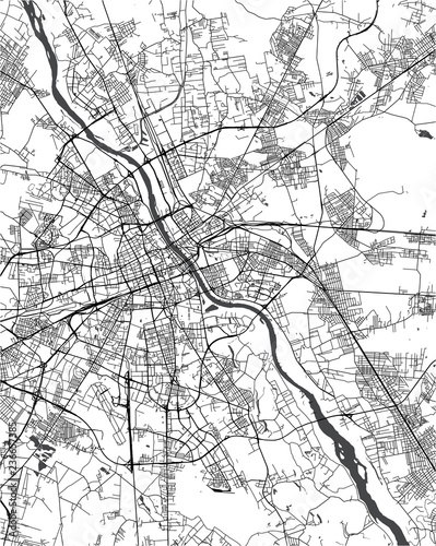 Folia na okno łazienkowe Mapa Warszawy, Polska
