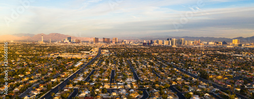 Canvas Print Long Panoramic View Residential Expanse Outside the Strip Las Vegas
