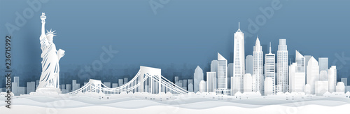 Panorama view of New York City, United States of Amerrica skyline with world famous landmarks in paper cut style vector illustration