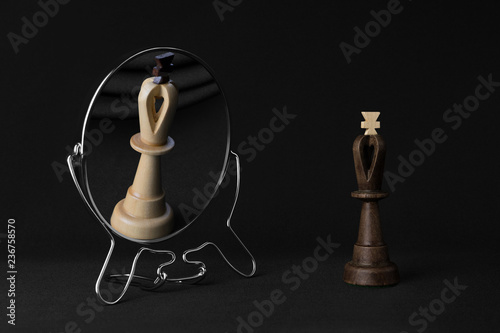 black king sees the white king in the mirror Fototapeta