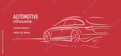 Modern car abstract line illustration for cards, flyers etc. Auto silhouette outline on red background. Vector. Text outlined.