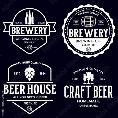 Set of vintage monochrome badge, logo templates and design elements for beer house, bar, pub, brewing company, brewery, tavern, restaurant Poster Mural XXL