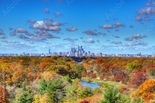 Canvas-taulu Center City Philadelphia Skyline with Fall Colors