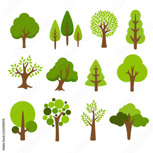 Collection of trees. tree set isolated on white background. vector illustration.