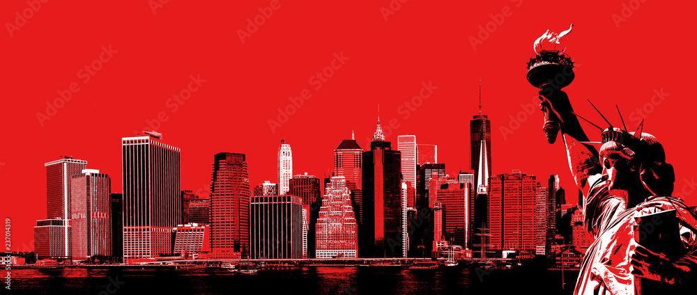 Manhattan Skyline i Statua Wolności <span>plik: #237014319   autor: misu</span>