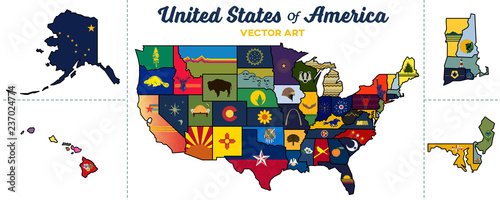 Photo united states map | isolated state graphics and paths | vector art