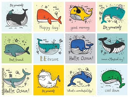 Fototapeta premium Wektor ilustracja karty z cute doodle oceanów zamieszkujących wieloryby w kolorze i zabawny cytat motavation - wektor