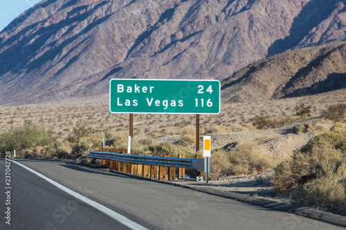 Las Vegas 116 miles highway on Interstate 15 near Baker in the Mojave Desert area of Southern California.