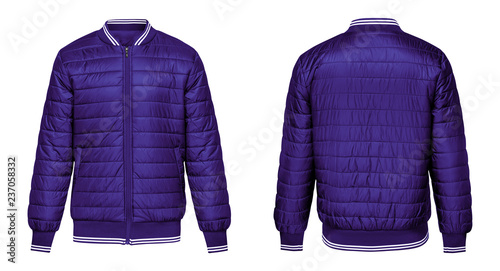 Fotografía Blank template purple jacket bomber with white stripe, front and back view isolated on white background