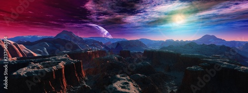 Foto alien landscape, a panorama of a surface of another planet at sunrise,