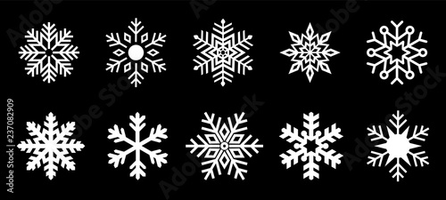 Fotografie, Obraz Isolated Snowflake Collection