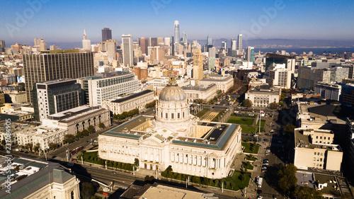 Foto Aerial View City Hall Downtown Core Urban Center San Francisco Metro Skyline