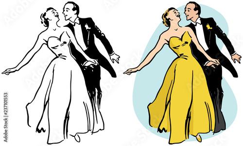 Foto A couple ballroom dancing.