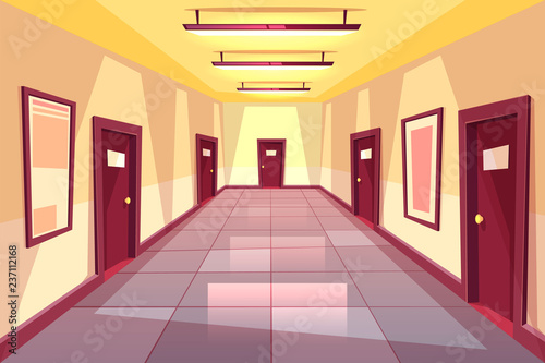 Carta da parati Vector cartoon hallway, corridor with many doors - college, university or office building
