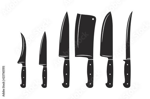 Fototapeta Kitchen knives vector icon set